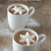Creamy hot chocolate with cool whip snowflakes