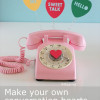 Conversation heart cut outs plus a pink rotary phone (eek!)