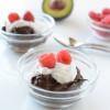 Chocolate avocado pudding with whipped coconut cream