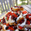Goat cheese, red pepper toasts