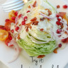 Wedge salad with pomegranate seeds