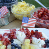 Red, white and blue banana split