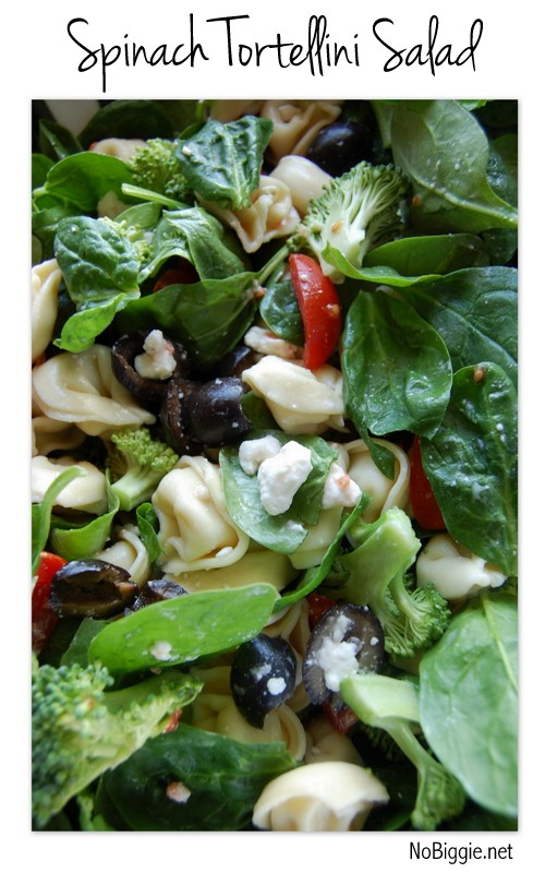 spinach tortellini - this salad is so good! recipe on NoBiggie.net
