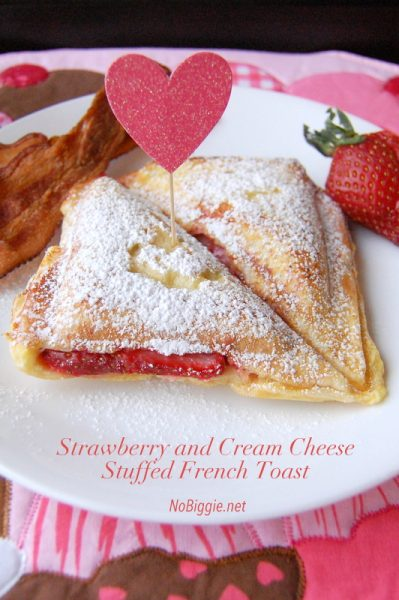 Strawberry and Cream Cheese Stuffed French Toast | | 25+ sweet gifts for him for Valentine's Day | NoBiggie.net