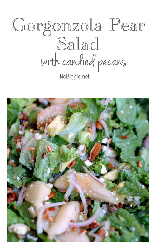 gogonzola pear salad with candied pecans - a delicious salad recipe - find it on NoBiggie.net