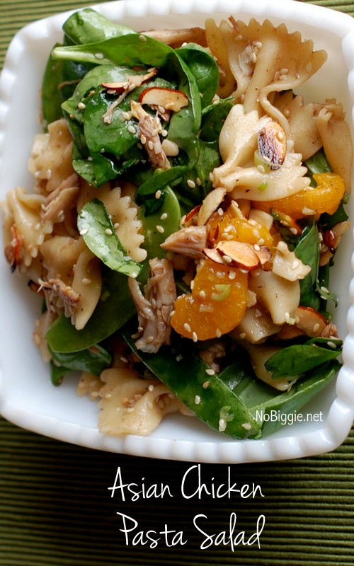 Asian Chicken Pasta Salad - so good! find the recipe on NoBiggie.net