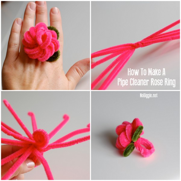 How to make Pipe cleaner rose rings | NoBiggie.net