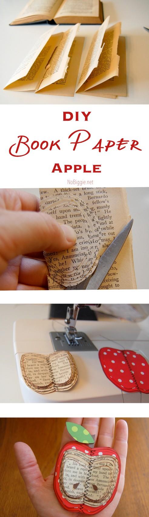 DIY book paper apple - make this fun paper craft with cool vintage book paper | NoBiggie.net