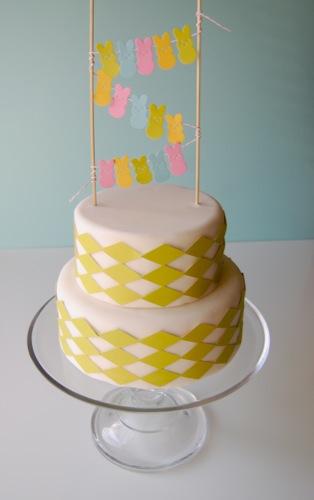 Easter cake with paper peeps | NoBiggie.net