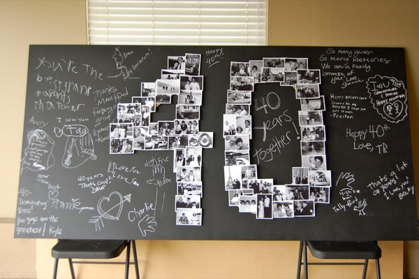 Diy giant number photo collage for Decoration 40 ans homme