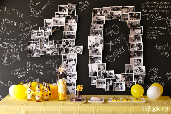 40th birthday photo banner display craft me happy 40th for 40th birthday decoration ideas
