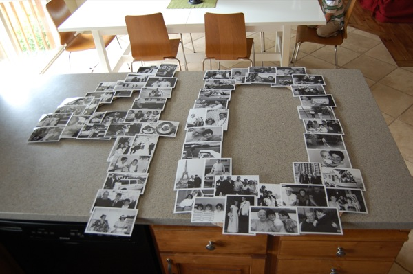 DIY giant number black and white photo collage | NoBiggie.net