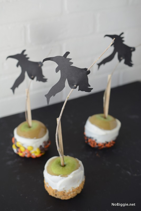 Witchy Caramel Apples for Halloween - for less! Make the most gourmet apples for your next party! | NoBiggie.net