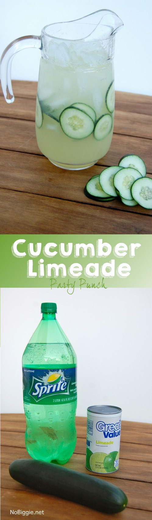 cucumber limeade party punch - this punch is so easy and so good!   NoBiggie.net