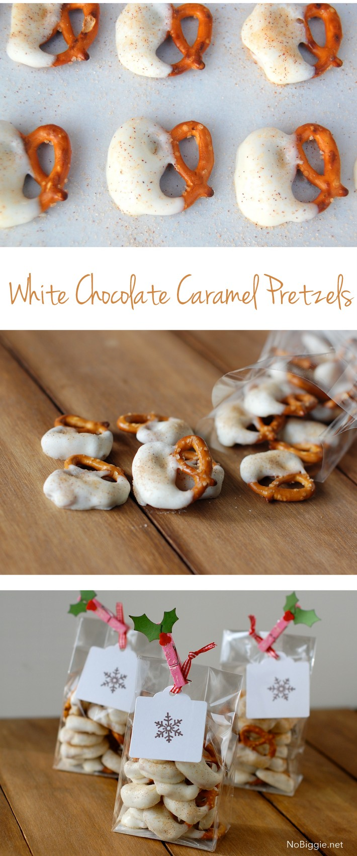 pretzels with white chocolate caramel and cinnamon - recipe on NoBiggie.net