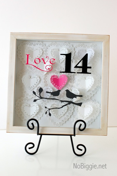 Valentine's Day paper hearts Shadow Box