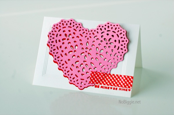 Valentine's Day Heart Doily Card