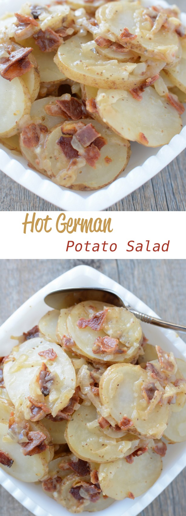 Hot German Potato salad a perfect potato salad that can be served warmed or chilled. #potato #bacon #potatosalad #hotgermanpotatosalad