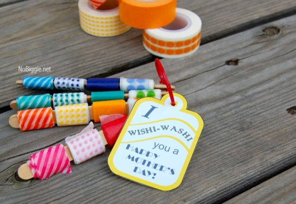 washi tape mother's day tag