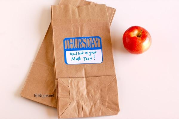 School lunch notes   NoBiggie.net #freeprintable #DaysofTheWeek #freedownload