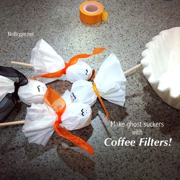 Make ghost suckers using coffee filters | NoBiggie.net