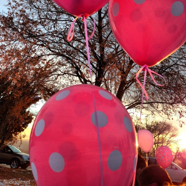 Little pink balloons sent up to heaven