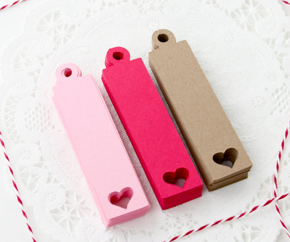 kraft paper gift tags for Valentine's Day