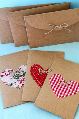 kraft paper stitched heart cards