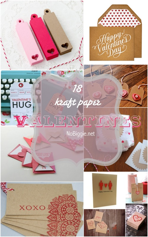18 different kraft paper Valentines via NoBiggie.net