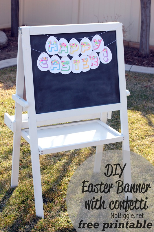 DIY Easter Banner printable with confetti| 25+ Easter and Spring Decorations | NoBiggie.net