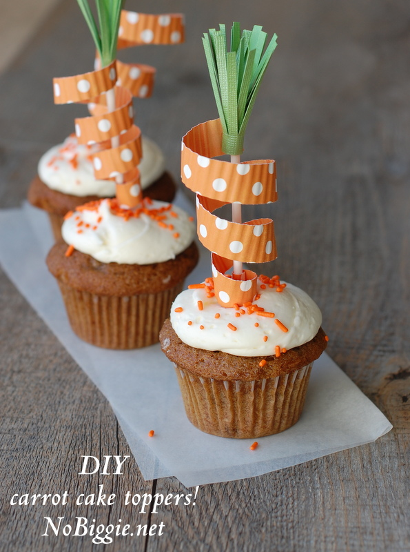 DIY carrot cake toppers are an adorable way to decorate your cupcakes this holiday season. #papercrafts #caketoppers #cupcaketoppers #carrotcaketopper #diy