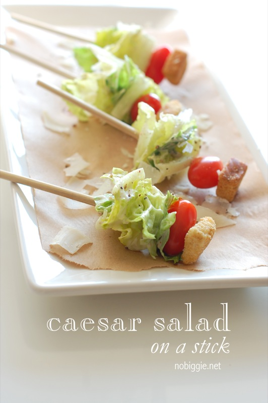 Caesar salad on a stick makes such a simple but yet delicious appetizer that requires no plates or forks to eat. #simpleappetizers #appetizers #ceasersalad #salads