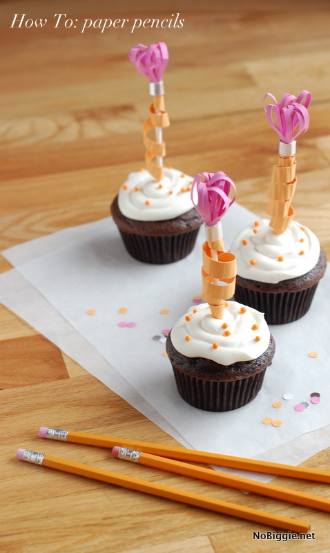 How to make paper pencil cupcake toppers - NoBiggie.net