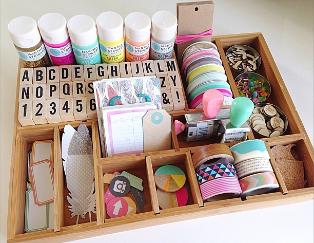 Craft supply organization ideas with a printer tray for Wooden craft supplies online