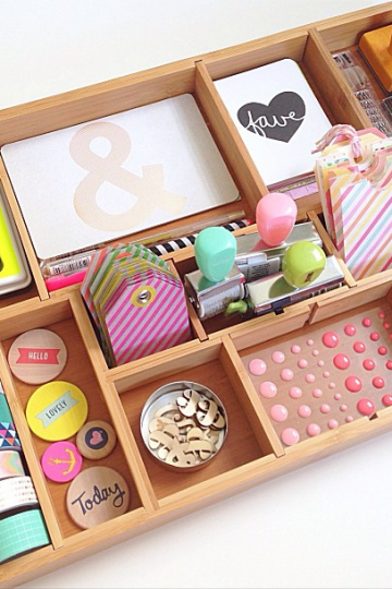 Craft supply organization ideas with a printer tray