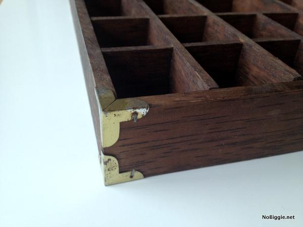 vintage printer's tray as organization | more ideas on NoBiggie.net