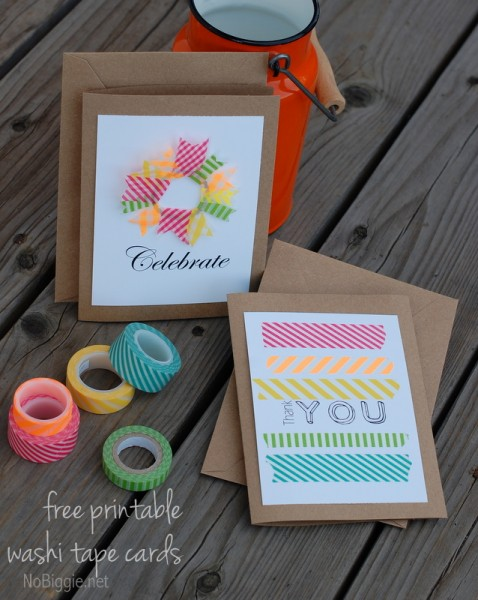 washi tape cards with a free printable via NoBiggie.net