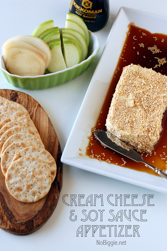 The easiest Cream cheese & Soy Sauce appetizer - it's always a hit! NoBiggie.net