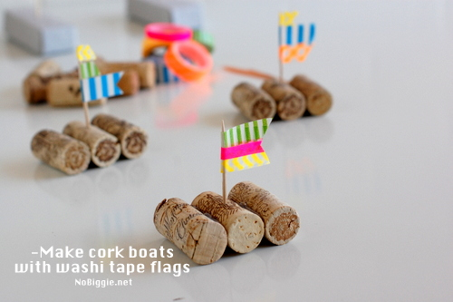 cork boats with washi tape flags NoBiggie.net