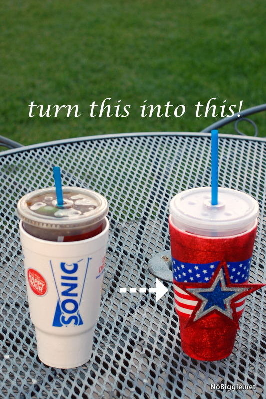 Make festive cups for July 4th - tutorial via NoBiggie.net