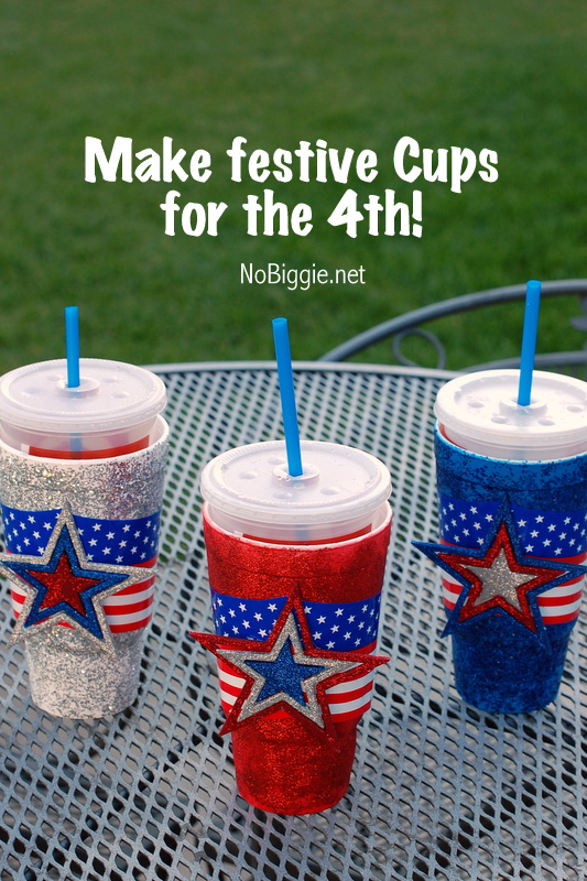 Make festive cups for the 4th of July - tutorial via NoBiggie.net