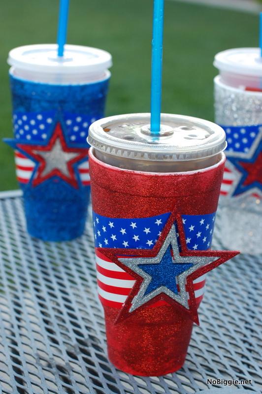 make festive cups for the 4th of July- tutorial via NoBiggie.net