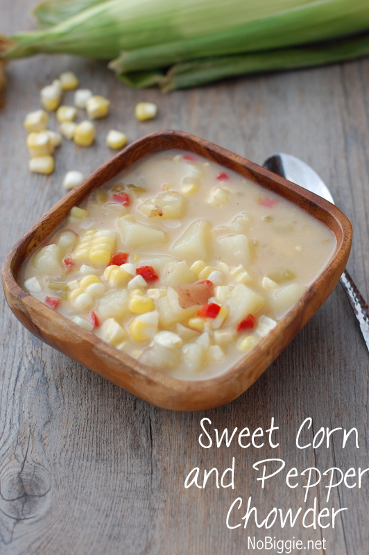 Sweet corn and pepper chowder is a family favorite full of delicious fresh corn. #sweetcorn #sweetcornandpepperchowder #chowderrecipes #chowder #summerrecipes