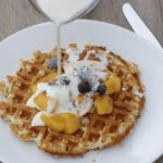 brown sugar peaches and cream waffles | NoBiggie.net