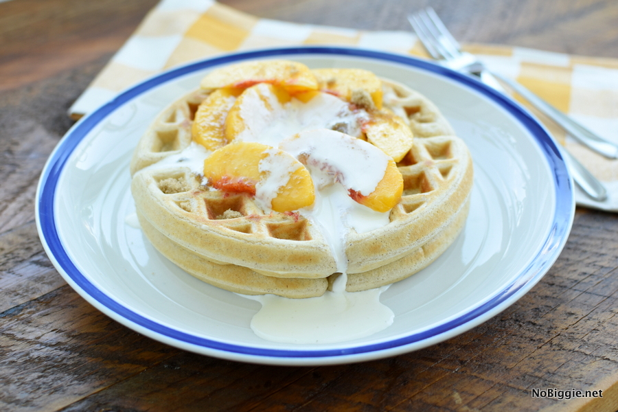 peaches and cream waffle with brown sugar