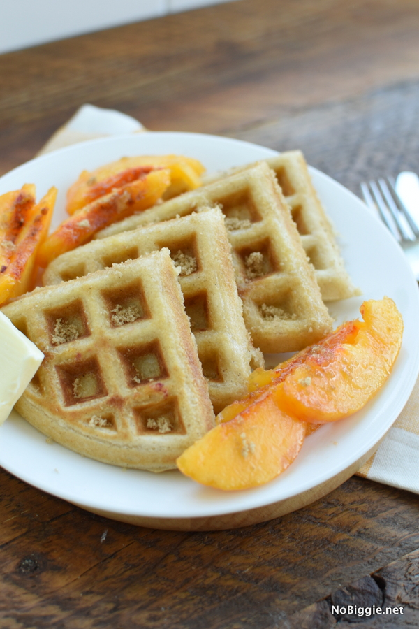 waffles with fresh peaches