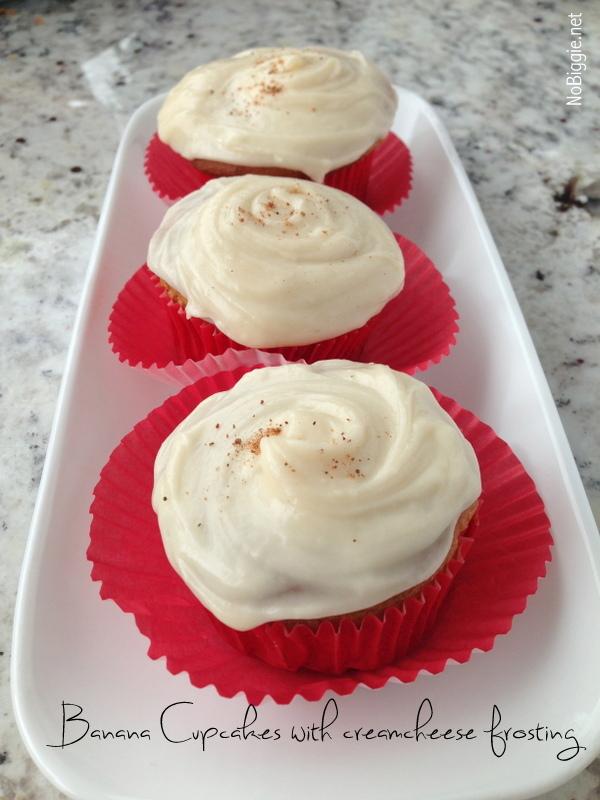 Banana cupcakes with cream cheese frosting | NoBiggie.net