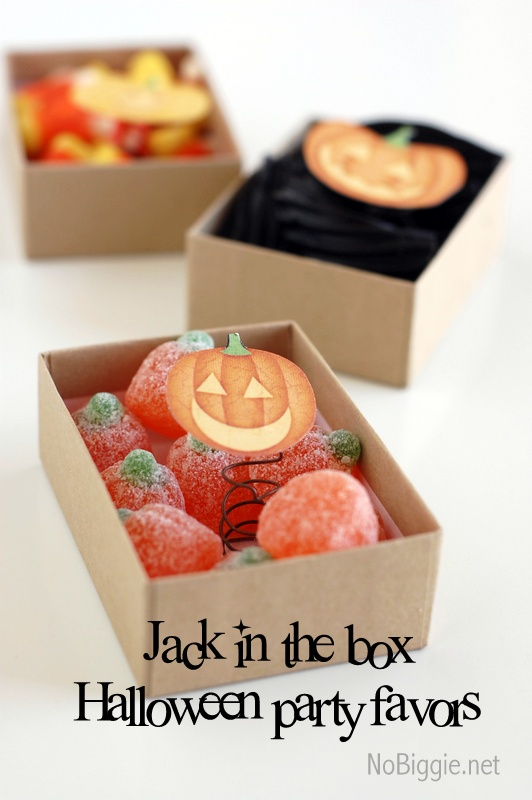 Halloween party favors jack o 39 lantern in a box for Easy halloween treats for work party