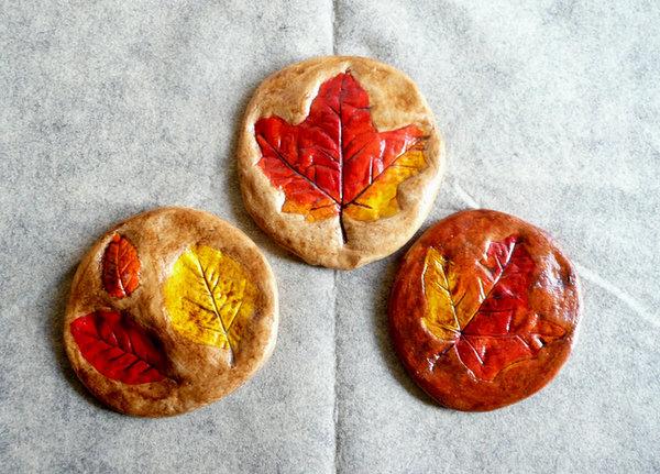 Fall kid craft - salt dough leaf print