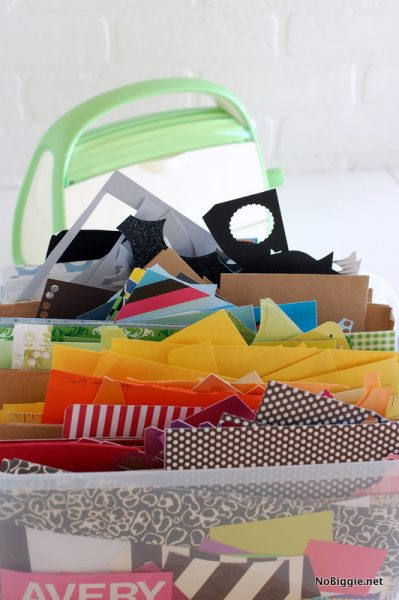 Organize all your paper scraps by color for easy access, plus more paper organizing ideas on NoBiggie.net